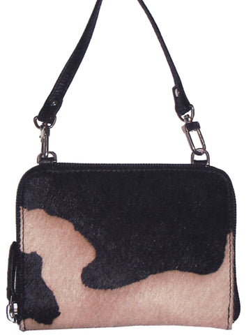 Scully Handbags Black Leather Hair on Calf Stadium Shoulder Bag