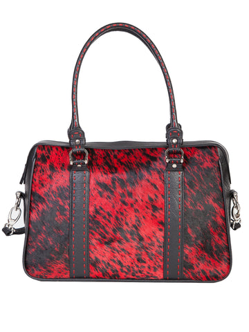 Scully Leather Handbag Womens Black/Red Hair on Calf Shoulder Tote 14.5x10.5x3.5