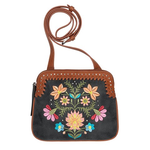 Bandana by American West Maya Crossbody Bag Charcoal Faux Leather Floral