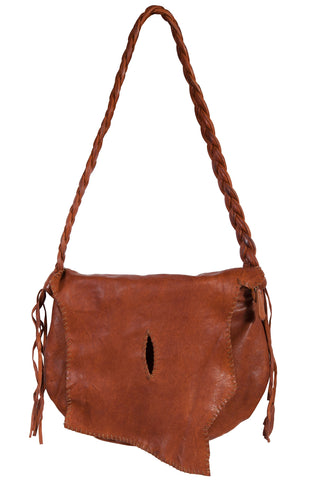 Scully Womens Tan Leather Center Oval Stitch Handbag