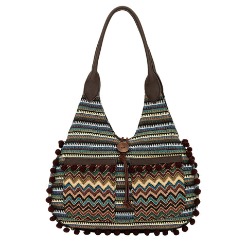 Bandana by American West Tulum Scoop Top Tote Dark Brown Faux Leather
