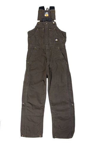 Berne Mens Olive Duck 100% Cotton Insulated Bib Overall
