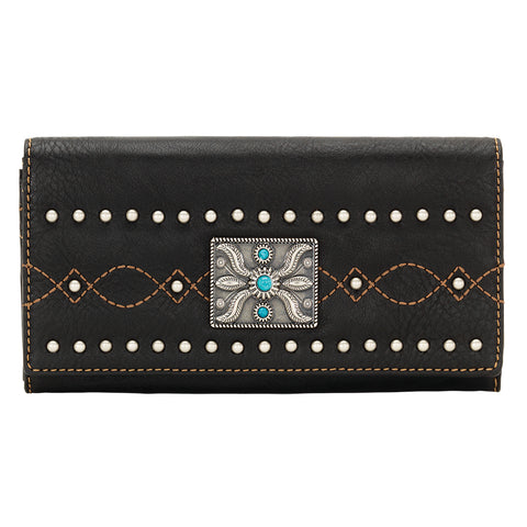 Bandana by American West Black Canyon Flap Wallet Black Faux Leather