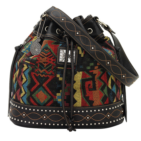 Bandana by American West Black Canyon Bucket Black Faux Leather Tote