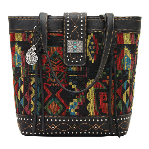 Bandana by American West Black Canyon Tote Black Faux Leather