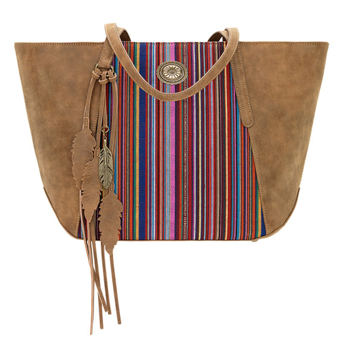 Bandana by American West Serape Zip Top Tote Medium Brown Faux Leather