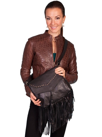 Scully Leather Handbag Womens Black Soft Fringe Crossbody Bag 12x10x1.5