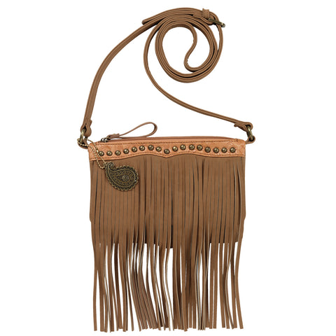 Bandana by American West Sun Valley Crossbody Bag Tan Faux Leather Fringe