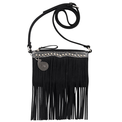 Bandana by American West Sun Valley Crossbody Bag Black Faux Leather Fringe