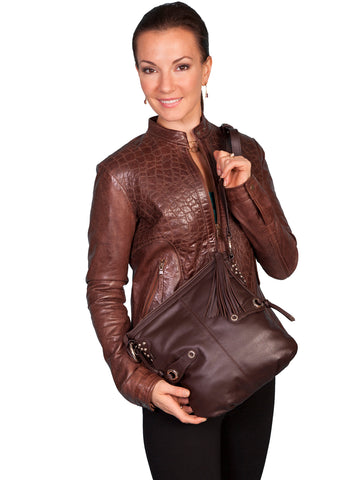 Scully Leather Handbag Womens Brown Tassel Crossbody Bag 11x12x1