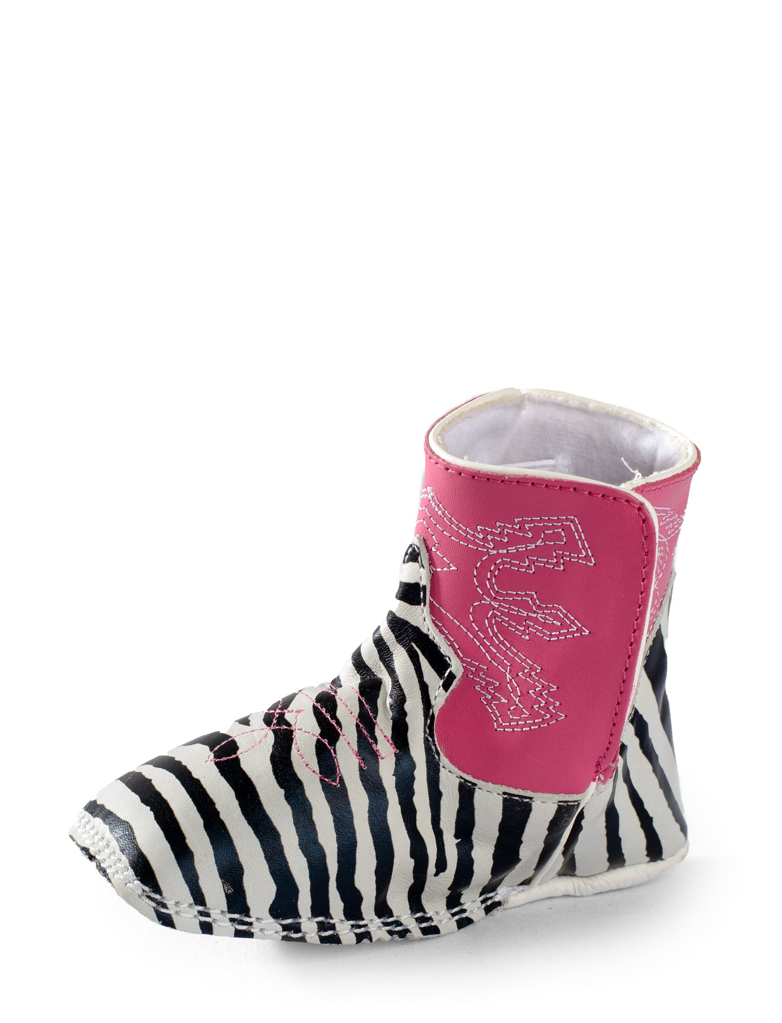 03ec25f7f6d0 Anderson Bean Baby Girls Black/Pink Leather Zebra Print Cowboy Boots ...