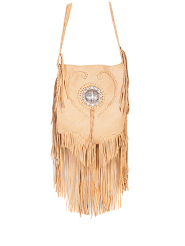 Scully Leather Handbag Womens Cream Fringe Crossbody Bag 8x8.5x1