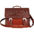 3D Tan Leather Briefcase Floral Basketweave Shoulder Strap