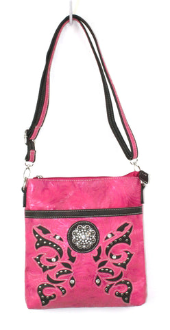 Savana Hot Pink Faux Leather Ladies Hot Pink Crossbody Concho Tooled Floral
