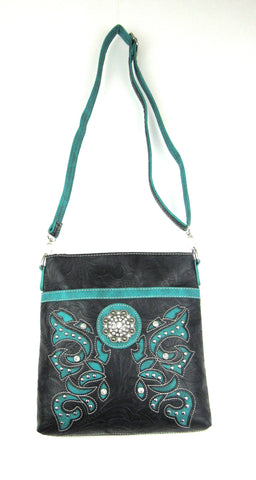 Savana Black Faux Leather Ladies Black Crossbody Concho Tooled Floral