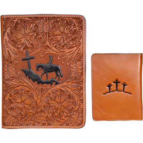 3D Natural Leather Bible Cover Praying Cowboy 3 Crosses