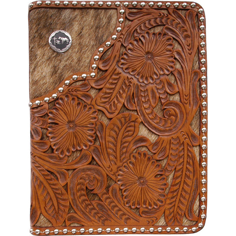 3D Natural Leather Bible Cover Hair-On Inlay Studs
