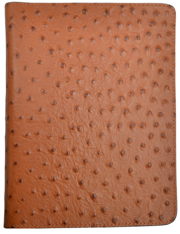3D Tan Leather Bible Cover Ostrich Print