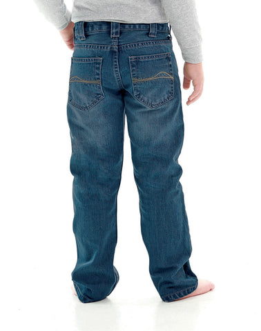 B Tuff Boys Blue Cotton Jeans Dark Wash Tan Stitch Straight Leg