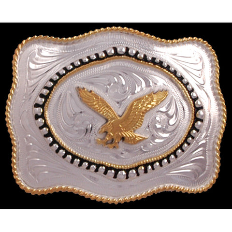 Silver Strike Gold Silver Plated Mens Belt Buckle Rope Edge Eagle