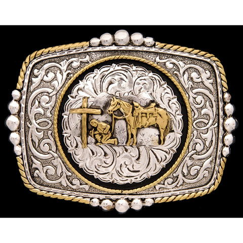 Silver Strike Gold Plated Mens Belt Buckle Praying Cowboy Rectangle