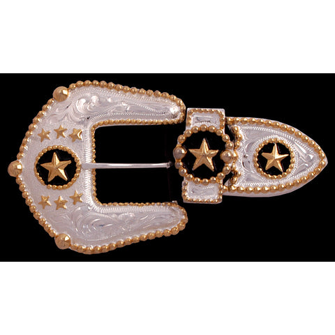 Silver Strike Gold Plated Mens Buckle Set 3 Piece Star