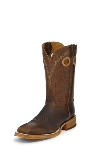 Justin 11in Mens Grizzly Brown Caddo Leather Cowboy Boots