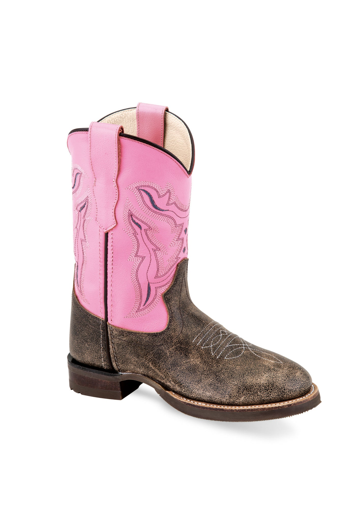 7e770aa5e3c Old West Pink/Brown Kids Girls Leather Cowboy Boots