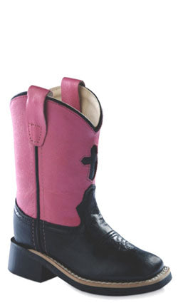 Old West Pink Childrens Girls Carona Leather Cross Sq Toe Cowboy Boots