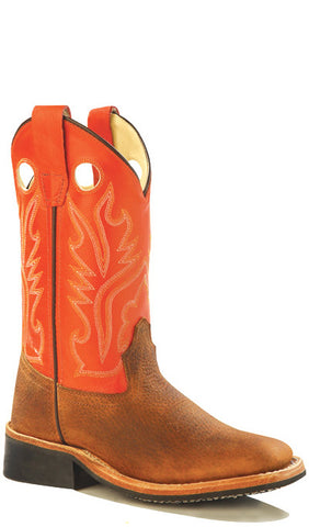 Old West Orange Childrens Boys Carona Calf Leather Sq Toe Cowboy Boots