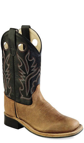 Old West Light Brown Childrens Boys Carona Leather Sq Toe Cowboy Boots