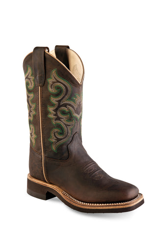 Old West Dark Brown Kids Boys Corona Leather Cowboy Boots