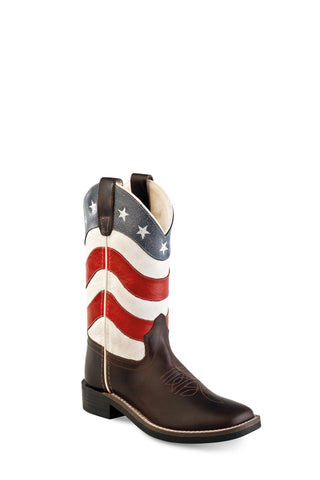 Old West USA Flag Youth Boys Leather Brown Cowboy Boots 5.5D