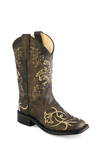 Old West Brown Youth Girls Corona Leather Floral Cowboy Boots