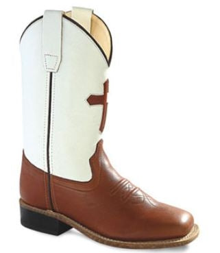 Old West Pecan Childrens Boys Carona Leather Cross Sq Toe Cowboy Boots