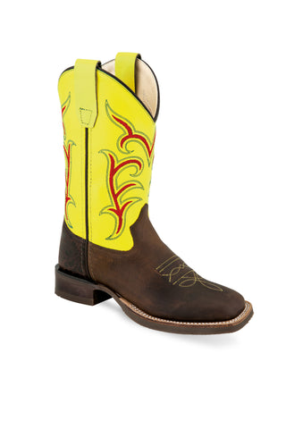 Old West Yellow/Brown Youth Boys Leather Western Cowboy Boots
