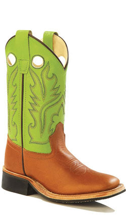 Old West Lime Green Childrens Boys Sandra Leather Sq Toe Cowboy Boots