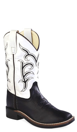 Old West White Childrens Boys Leather Broad Square Toe Cowboy Boots