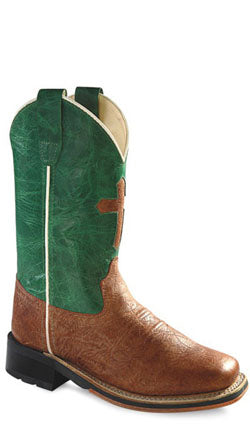 Old West Green Childrens Boys Calf Leather Square Toe Cross Cowboy Boots