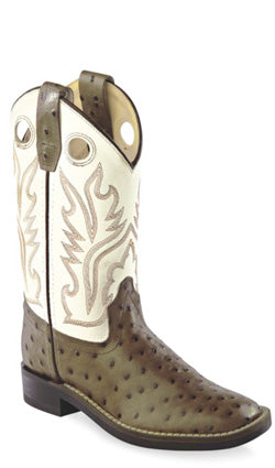 Old West White Childrens Boys Ostrich Print Leather Flex Cowboy Boots