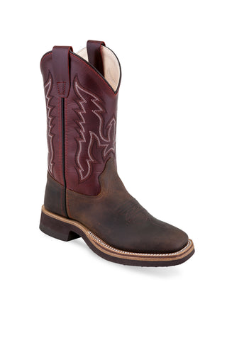 Old West Burgundy/Brown Kids Boys Corona Leather Western Cowboy Boots
