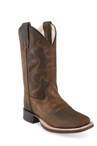Old West Brown Youth Boys Leather Cowboy Boots