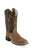 Old West Tan/Olive Green Youth Boys Leather Waxy Cowboy Boots