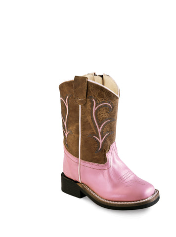 Old West Pink Toddler Girls Side Zip Cowboy Western Boots