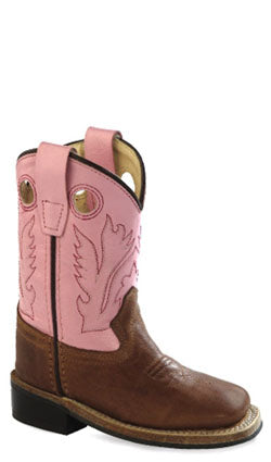Old West Pink Toddler Girls Square Toe Cowboy Western Boots