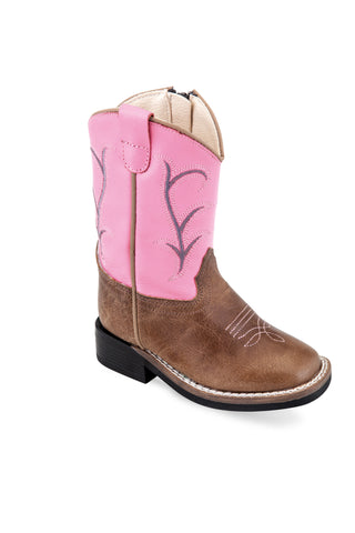 Old West Pink/Tan Toddler Girls Leather Western Cowboy Boots