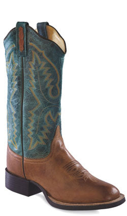 Old West Denim Blue Womens Vintage Leather Broad Square Toe Cowboy Boots
