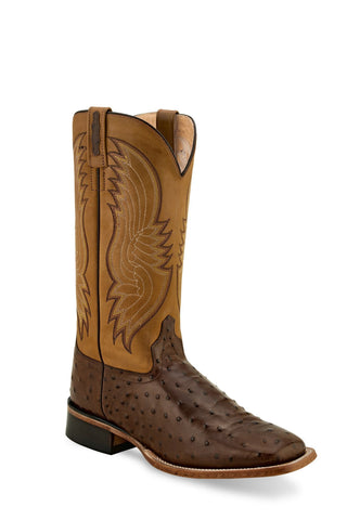Old West Cigar/Tan Canyon Mens Leather Ostrich Print Cowboy Boots 13D