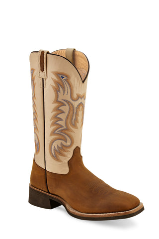 Old West Brown/Oyster Crystal Mens Leather 13in Cowboy Boots