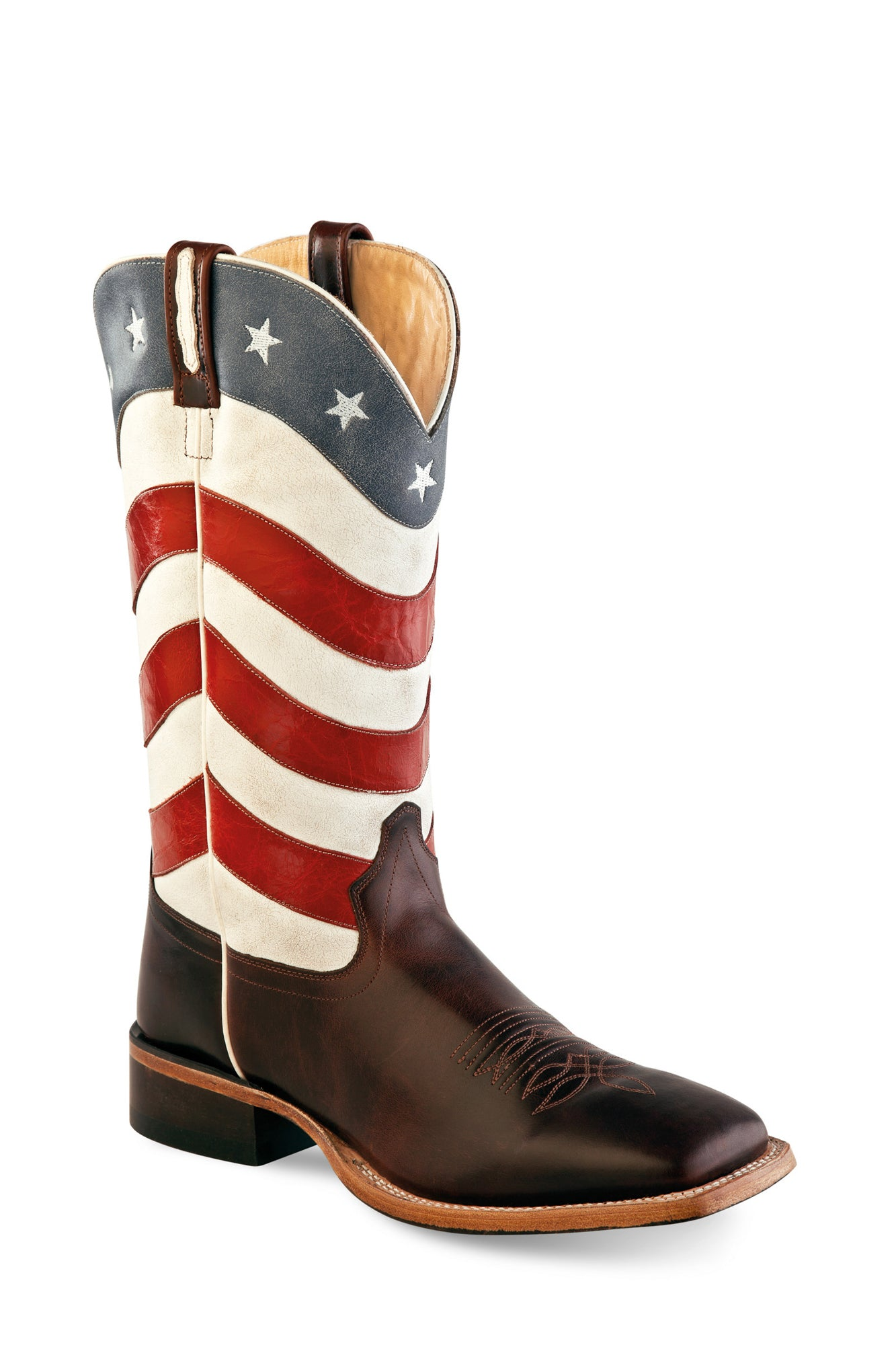 71d5582b34e Old West USA Flag Mens Leather 13in Western Cowboy Boots